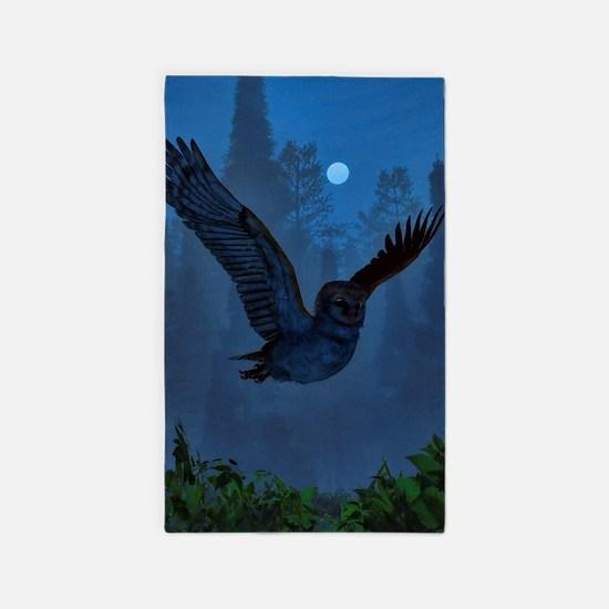 Owl In The Moonlight Shadow Area Rug