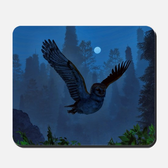 Owl In The Moonlight Shadow Mousepad