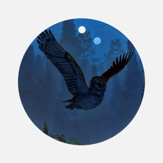 Owl In The Moonlight Shadow Round Ornament
