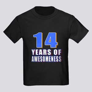 14 Years Of Awesomeness Kids Dark T-Shirt