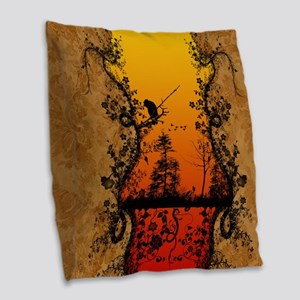 Silhouette, trees and birds Burlap Throw Pillow