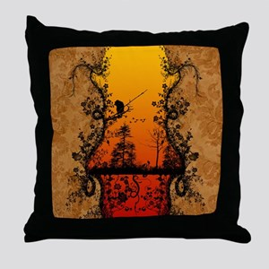 Silhouette, trees and birds Throw Pillow
