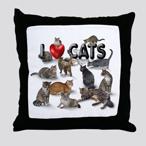 "Throw Pillow ""I love Cats"""
