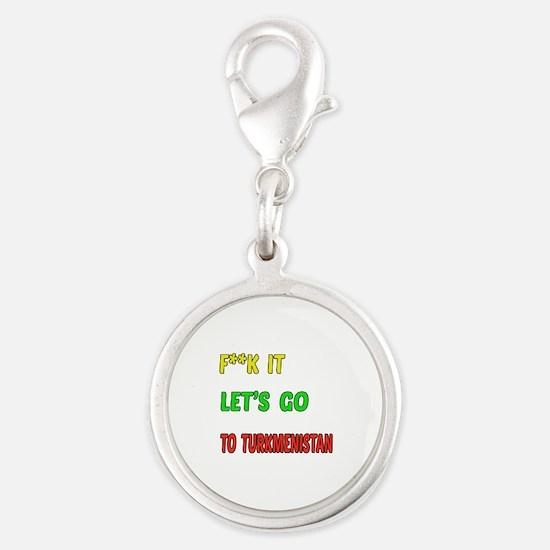 Let's go to Turkmenistan Silver Round Charm