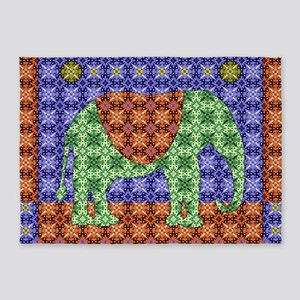 Colorful Elephant 5'x7'Area Rug