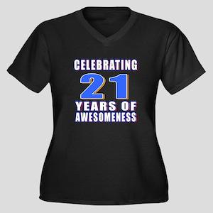 21 Years Of Women's Plus Size V-Neck Dark T-Shirt