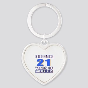 21 Years Of Awesomeness Heart Keychain