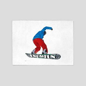 Snowboard jump fun 5'x7'Area Rug