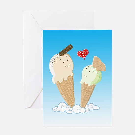Ice Creams In Love Greeting Cards