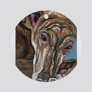 Brindle Greyhound Round Ornament