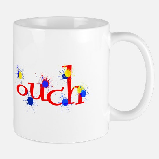 ouch red yellow blue paintball Mugs