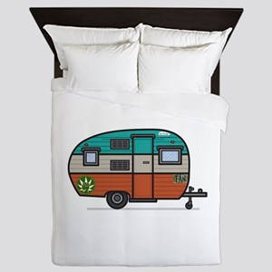 Vintage FAN Travel Trailer Queen Duvet