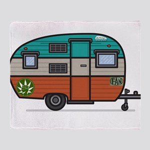 Vintage Fan Travel Trailer Throw Blanket