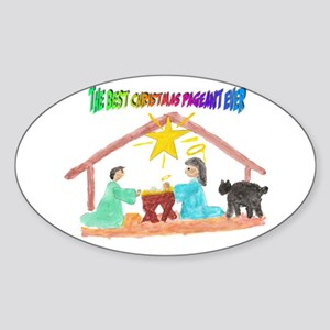 Christmas Pageant Manger Oval Sticker