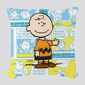 Charlie Brown Comic Strip Woven Throw Pillow