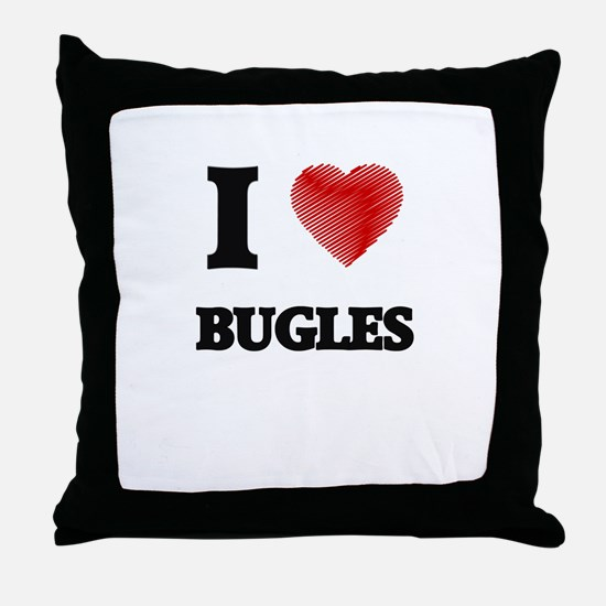 I Love BUGLES Throw Pillow