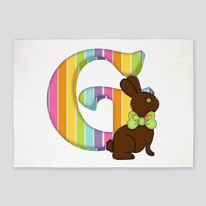 Letter G Chocolate Easter Bunny 5'x7'Area Rug