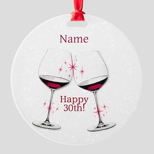 Wine Toast 30th BIrthday Ornament
