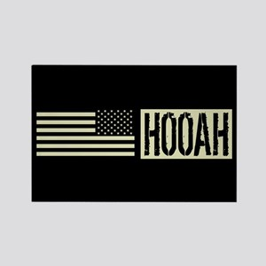 U.S. Army: Hooah (Black Flag) Rectangle Magnet