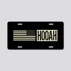 U.S. Army: Hooah (Black Fla Aluminum License Plate