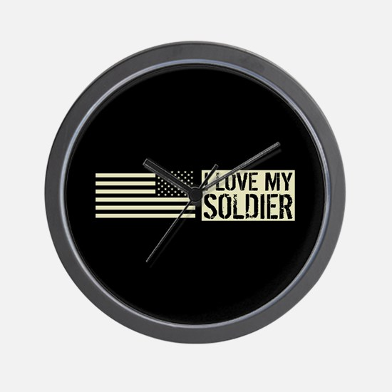 U.S. Army: I Love My Soldier (Black Fla Wall Clock