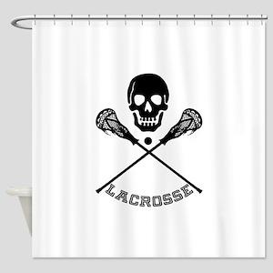 Skull and Lacrosse Sticks Shower Curtain