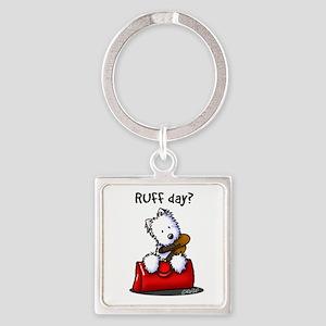 KiniArt Westie RUFF Day Square Keychain