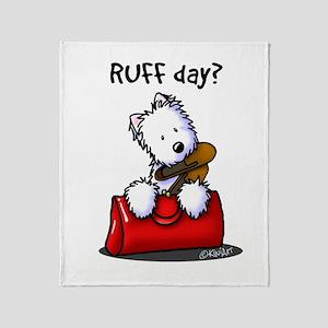 KiniArt Westie RUFF Day Throw Blanket