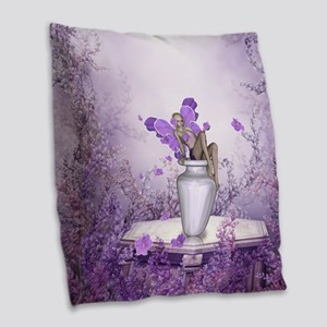 Beautiful fairy with flowers Burlap Throw Pillow