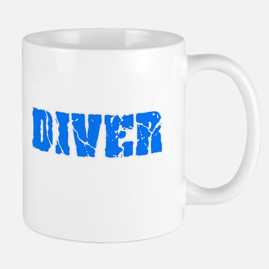 Diver Blue Bold Design Mugs