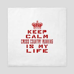 Keep Calm and Cross Country Running Queen Duvet
