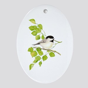 Watercolor Chickadee Bird In Poplar Oval Ornament