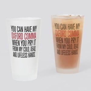 Oxford Comma Humor Drinking Glass