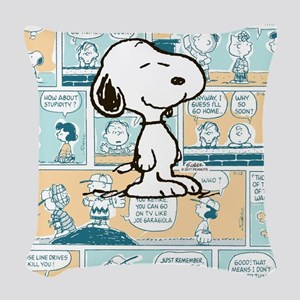 Peanuts Snoopy Comic Strip Woven Throw Pillow