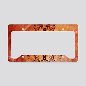 The celtic sign on soft red background License Pla