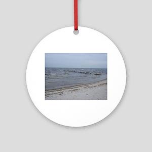 the sea invites you to dream Round Ornament