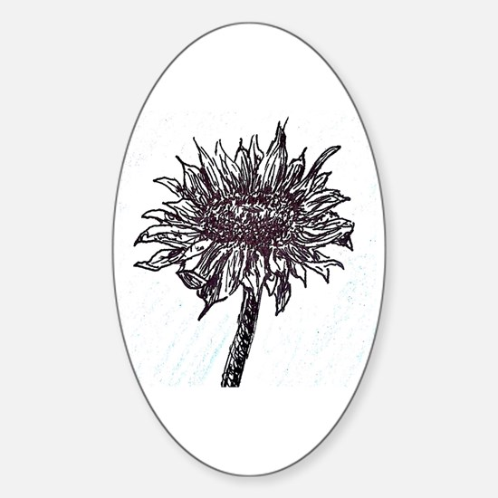 Unique Black and white sunflowers Sticker (Oval)