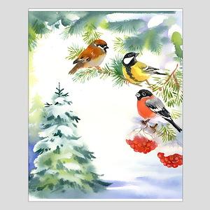 Watercolor Winter Birds Small Poster