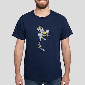 Heart / Love, Thai Language Map Dark T-Shirt