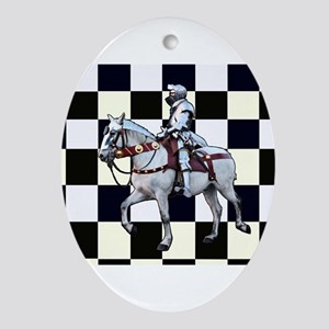 Knight on horseback with Chess board Oval Ornament