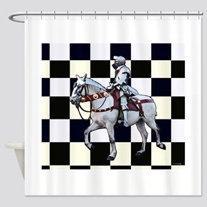 Knight on horseback with Chess boar Shower Curtain
