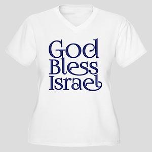 God Bless Israel Dark Blue Logo Plus Size T-Shirt
