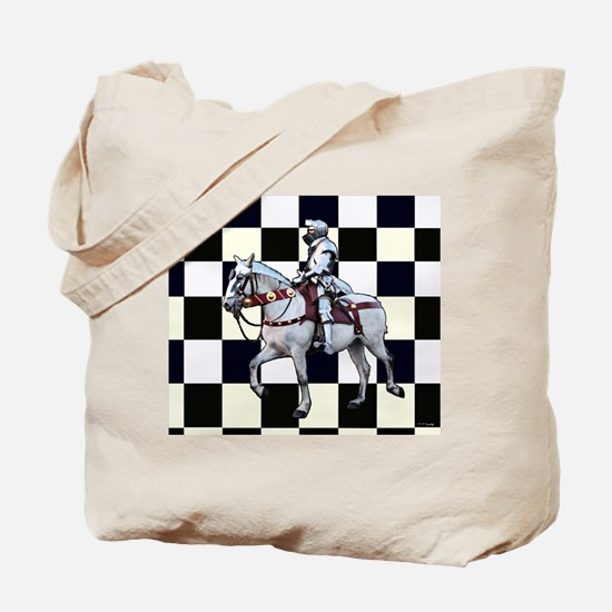 Knight on horseback with Chess board Tote Bag