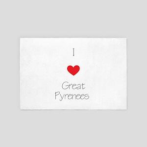I Love Great Pyrenees 4' X 6' Rug