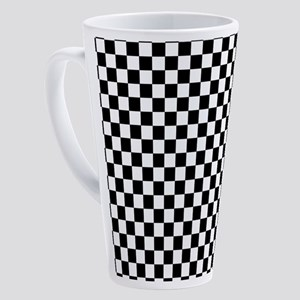 Black White Checkered 17 oz Latte Mug