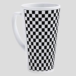 Black White Checkered 17 oz Latte Mug