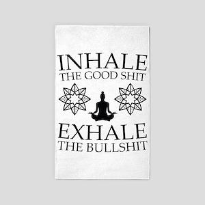 Yoga: Inhale the good shit Area Rug
