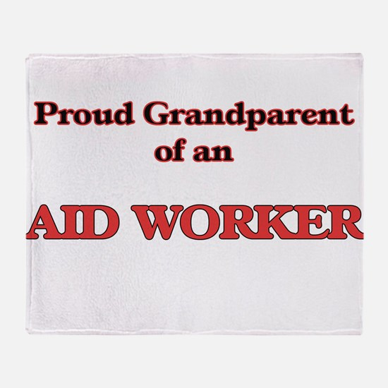 Proud Grandparent of a Aid Worker Throw Blanket