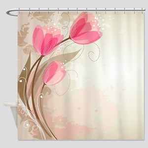 Pink Tulips on Taupe & Tan Watercolor Shower Curta