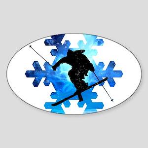 Winter Landscape Freestyle skier in Snowfl Sticker